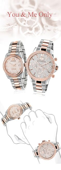 Matching His and Her's Watches: Luxurman Two-Tone White Rose Gold Plated Diamond Watch Set. We are proud to present you these Diamond Watches by Luxurman! These two matching diamond watches are plated in white and rose gold and are featuring a two tone gold plated stainless steel case and band. Both of these Luxurman diamond watches are conveniently water-resistant to 3 ATM and come with a 5 year manufacturer's warranty.