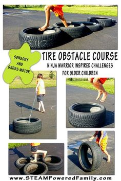 Tire Obstacle Course - Ninja Warrior Inspired Challenges For The Older Child. Great Sensory And Gross Motor Work!: Tire Obstacle Course - Ninja Warrior Inspired Challenges For The Older Child. Great Sensory And Gross Motor Work! Gross Motor Activities, Outdoor Activities For Kids, Outdoor Learning, Gross Motor Skills, Outdoor Games, Outdoor Play, Fun Activities, Therapy Activities, Physical Activities