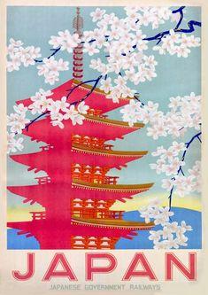 Vintage Poster Vintage Japan Japanese Railway Travel Poster Re-Print - Poster A3, Old Poster, Kunst Poster, Poster Prints, Art Prints, Vintage Travel Posters, Vintage Postcards, Vintage Japanese, Japanese Art