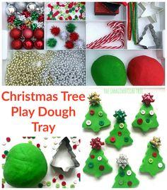 Christmas Tree Play Dough Tray – The Imagination Tree - Kinderspiele Preschool Christmas, Christmas Activities, Christmas Themes, Kids Christmas, Christmas Crafts, Diy Gifts For Kids, Crafts For Kids, Plastic Christmas Tree, Imagination Tree