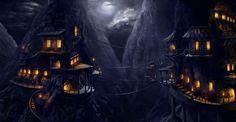 Mountain Village, Yuri Martell on ArtStation at https://www.artstation.com/artwork/N5Nnz