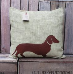 Leather Dachshund Cushion/Pillow by BaggyFitted on Etsy, £30.00