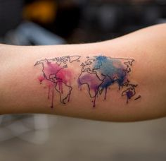 """Some of the tattoos can look deceptively simple, but Wang puts a lot of forethought and prep into each one. """"A lot of the time, I make the layouts for tattoos on Photoshop and plan it out where I'm going to put the splatters,"""" she says. """"I print it, make a stencil out of that, and outline the basic shapes."""""""