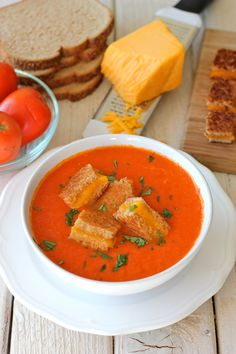 "Creamy Tomato Soup with Grilled Cheese ""Croutons"" (by Damn Delicious)"