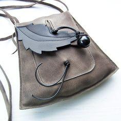 Handmade Leather small messenger, Bag, YSABEL in Thunder 2299 by Fairysteps. £48.00, via Etsy.