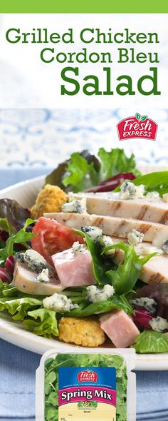 The Grilled Chicken Cordon Bleu Salad is so much easier to make than the traditional dish and it is better for you, too! Food Baby, Baby Food Recipes, Chicken Cordon Bleu, Packing Light, Grilled Chicken, Cherry Tomatoes, Bon Appetit, Lighter, Entrees