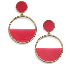 kate spade new york hoop drop earrings ($68) ❤ liked on Polyvore featuring jewelry, earrings, pink, mod jewelry, kate spade earrings, hoop earrings, pink drop earrings and resin jewelry