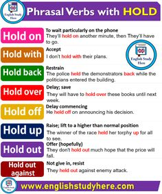 Phrasal Verbs with HOLD in English words English Grammar Rules, Learn English Grammar, English Vocabulary Words, Learn English Words, English Language Learning, English Writing, English Study, English English, German Language