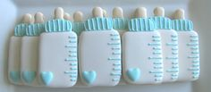 Ideas Baby Boy Shower Desserts Sugar Cookies For 2019 Fancy Cookies, Iced Cookies, Cute Cookies, Sugar Cookies, Baby Boy Cookies, Baby Shower Cookies, Galletas Decoradas Baby Shower Boys, Bottle Cake, Baby Bottles