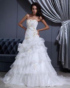Prinzessin Perlenbesetztes Plissiertes Brautkleid mit Rücken Schnürung mit Applike - Bild 1