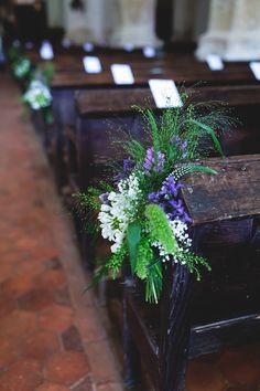 Looks beautiful against the dark wood. Wedding Pews, Blue Wedding, Rustic Wedding, Pew Flowers, Pew Ends, Wedding Day Inspiration, French Wedding, Flower Bouquet Wedding, Just Married