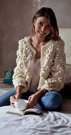 Give your wardrobe a subtle, classy upgrade. You deserve all of this cozy ivory . - Give your wardrobe a subtle, classy upgrade. You deserve all of this cozy ivory glory. Knit Your Lo Pom Pom Sweater, Comfy Sweater, Casual Sweaters, Winter Sweaters, Sweater Coats, Fall Cardigan, Cream Cardigan, Crochet Cardigan Pattern, Crochet Jacket