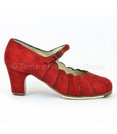 zapato de flamenco begoña cervera acuarela rojo ante