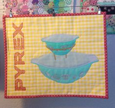 Pyrex Chip n Dip Mini Quilt Wall Hanging RTS by suburbanbelle, $75.00