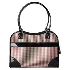 Pet Life Exquisite Handbag Fashion Pet Carrier - Herringbone with Black Trim - B23DSMD