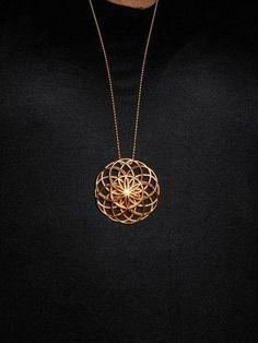 Flower of Life Pendant 3D Print in Gold Plated Steel | unimaginableimagination - Jewelry on ArtFire