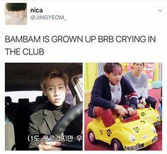 BamBam is growing up 😩 Got7 Funny, Got7 Meme, Bts Memes, Got7 Bambam, Youngjae, Got7 Jackson, I Got 7, Jaebum, Vixx