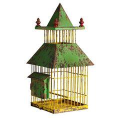 Oriental Yellow Bird Cage By Nordal Wood Bird, Metal Birds, Monet, Antique Bird Cages, Old Cabins, The Caged Bird Sings, Bird Perch, Ceramic Birds, Bird Toys