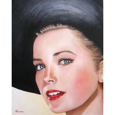 Grace Kelly ORIGINAL PAINTING Signed Hand Painted Portrait Acrylic On... ($500) ❤ liked on Polyvore featuring home, home decor, wall art, acrylic painting, canvas paintings, portrait painting, acrylic portrait painting and canvas home decor