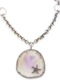 Diamond Quartz Starfish Necklace