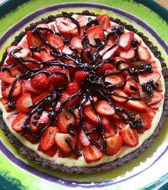 Strawberry tart with a dark chocolate almond crust