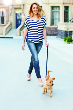 lc lauren conrad: stripe shirt + denim {and fitz, of course}