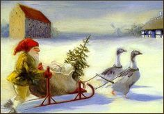 Gnome,Sleigh and Geese