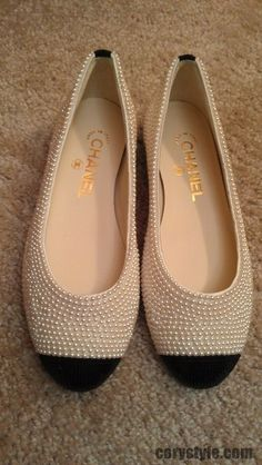 Chanel pearl embellished flats I would do terrible things to have these shoes!!