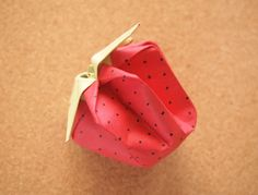 wikiHow to Fold Strawberry Origami -- via wikiHow.com #DIY #Crafts #Kids