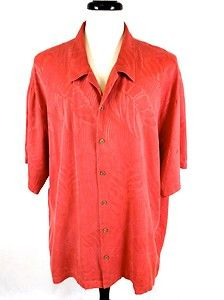 Tommy Bahama Mens Hawaiian Orange Silk Button Front Camp Shirt XXL 2XL Nice | eBay
