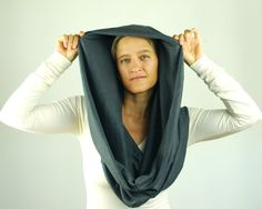 Infinity Scarf - Circle Scarf - Chunky  - Cowl - Gray - Organic Cotton Hemp Jersey - Organic Clothing on Etsy, $60.00