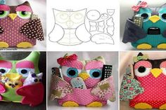 DIY Cute Fabric Owl Pillow with Free Pattern: Sew Owl Pillow Pattern, Owl Cushion, Remoter Owl Snuggle, Owl craft ideas for Home Decor Owl Fabric, Fabric Crafts, Sewing Crafts, Sewing Projects, Owl Pillow Pattern, Quilt Pattern, Remote Control Holder, Remote Caddy, Owl Cushion