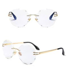 676d2cc04f Round Rimless Sunglassses   Gold with clear Glasses Frames