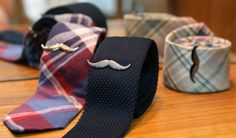Mustache tie clips to keep the guys looking dapper on the big day