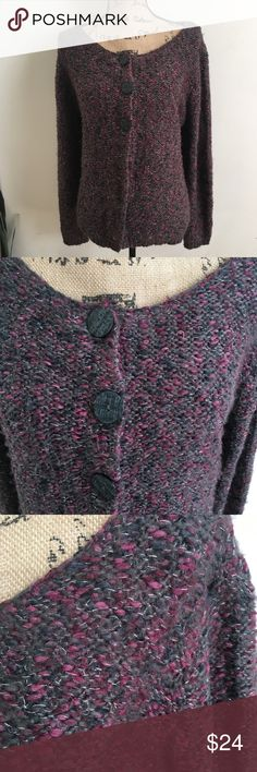 Cato purple gray shimmer chunky knit cardigan Warm and cozy 3 button cardigan by Cato. Purple and gray with silver shimmer threads throughout. Sz XL. Gently used condition. E1 Cato Sweaters Cardigans
