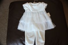 Cuddle Bear Collection 2 Pc  Outfit  3/6M Velvet and Lace White  #CuddleBear #DressyEverydayHoliday