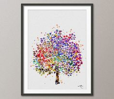 Tree Nature Love Watercolor Print Wedding Gift by CocoMilla