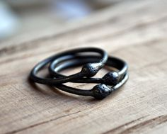 Black Asteroid Stacking Ring Set of 3 Oxidized by Epheriell, $72.00