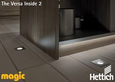 The Versa Inside LED linear lighting can be installed directly under your toe-kick to allow for subtle down lighting in your kitchen. Magic Lighting is available from Hettich, click on the pin for more inspiration & information! #lightingdesign #kitchenlighting