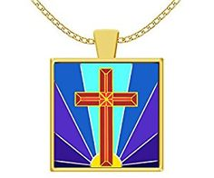 Amazon.com: Christian Women Necklace with Chain Art Deco Holy Cross with Sun golden color Pendant Charm: Sports & Outdoors