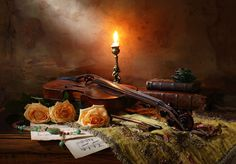 Still life with violin and Light ray by Andrey Morozov on 500px
