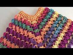Poncho Croche Batik - YouTube Crochet Baby Poncho, Crochet Ripple, Crochet Baby Clothes, Crochet Art, Crochet Bunny, Learn To Crochet, Crochet For Kids, Crochet Shawl, Baby Knitting Patterns