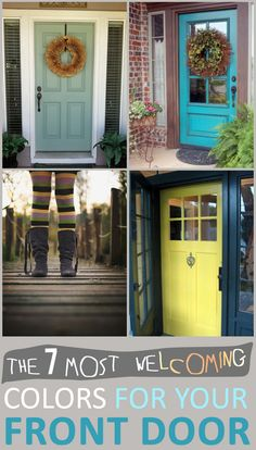 That yellow door is my all time fave! - The 7 Most Welcoming Colors For Your Front Door Door Paint Colors, Front Door Colors, Front Door Decor, Front Porch, Painted Front Doors, Exterior Doors, Home Interior, House Painting, Windows And Doors
