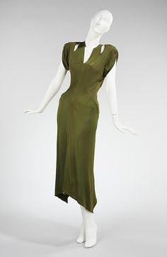 Green silk dress by Charles James, American, 1949. Made for Millicent Rogers, an important James client for whom he designed from the mid-1930s until her death in 1953.