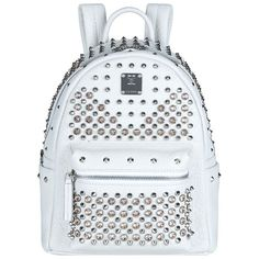 MCM Mini Stark Special Backpack ($2,365) ❤ liked on Polyvore featuring bags, backpacks, spiked bag, mini backpack, full grain leather bag, mcm and mini bag