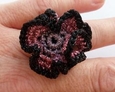 Crochet Ring Black Pink purple flower crochet by DesignByIrenne