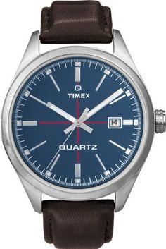 9bebf064359f Timex Originals T2N405 Mens T Series Blue Dial Brown Leather Strap Watch  Negru