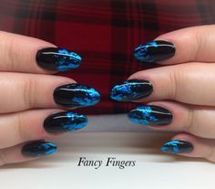 CND Shellac and blue foil