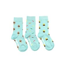 Kid Socks - Mismatched Ice Cream and Sprinkles – Friday Sock Co.  Friday Kid Socks come three to a pair! That's right folks. Three super fun mismatched matching socks! So... if you lose one, no sweat. If you grow another foot, you're in luck. Three socks equal one pair of awesomeness.   Click the link to see more super cool designs!