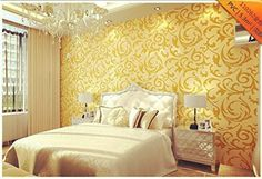 High-end 10m Luxury Embossed Patten/textured Wallpaper Rolls,silver,gold 4 Color (Gold)
